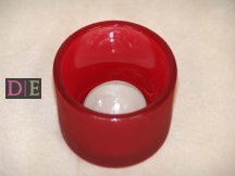 Frosted Red Glass Tealight Holders