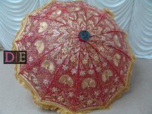Red Embroidered Decorative Umbrella
