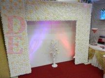 White Glitter Panel with Flower Wall Backdrop