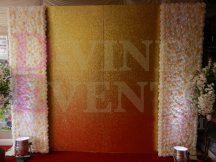 Gold Glitter Panel with Flower Wall Backdrop